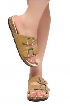 HerStyle SOFTEY-Open Toe Buckled Cork Slide Sandal(Cognac)