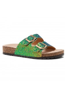 HerStyle SOFTEY-Open Toe Buckled Cork Slide Sandal(GreenGLT)