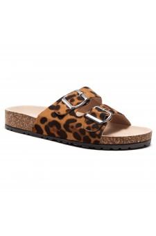 HerStyle SOFTEY-Open Toe Buckled Cork Slide Sandal(Leopard)