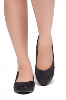 HerStyle SOLE-SHINE-Round toe, jeweled embellishments flats (Black)