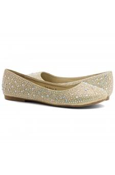 HerStyle SOLE-SHINE-Round toe, jeweled embellishments flats (Gold)