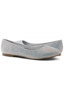 HerStyle SOLE-SHINE-Round toe, jeweled embellishments flats (Silver)