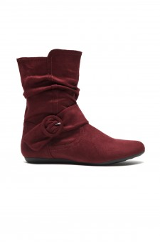 Women's Burgundy Staaton Women's Fashion Calf Flat Heel Side Zipper, Buckled, Slouch Ankle Boots