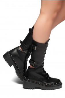 HerStyle Statement- Lace up,Double Buckled, Studs detail,Middle Calf Combat Boots (Black)