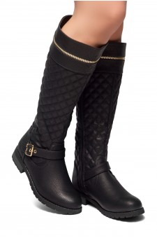 HerStyle Street Edge-Quilted, Zipper and Buckle Trim Riding Knee High Boots (Black)