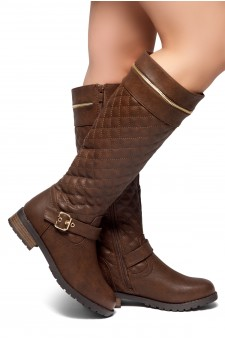 HerStyle Street Edge-Quilted, Zipper and Buckle Trim Riding Knee High Boots (Brown)