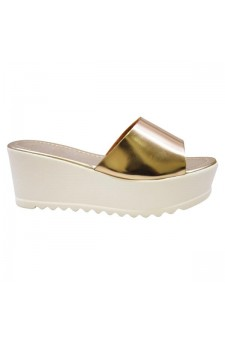 Women's Gold Manmade Strippy 3-inch Wedge Sandal with Comfort Sole
