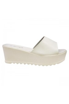 Women's White Manmade Strippy 3-inch Wedge Sandal with Comfort Sole