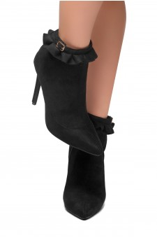 HerStyle STYLE TAKE-Stiletto heel, ankle ruffle detail Booties (Black)