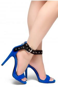 HerStyle Suger Sweet-Stiletto Heel, Ankle Strap Buckle Details Back Zipper Sandals (RoyalBlue)