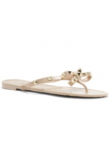 Shoe Land SUMMER-Women's Flip Flops Jelly Sandals With Studs Accents(1896/Beige)