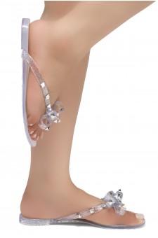 Shoe Land SUMMER-Women's Flip Flops Jelly Sandals With Studs Accents(1896/Silver)