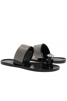 Shoe Land SUMMER-Women's Rhinestone Vamp Flip Flops Toe Ring Jelly Sandals (1901/Black)