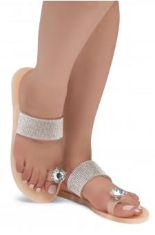 Shoe Land SUMMER-Women's Rhinestone Vamp Flip Flops Toe Ring Jelly Sandals (1901/Nude)