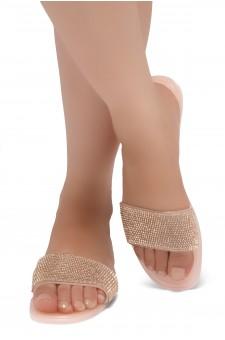 Shoe Land SUMMER-Women's Rhinestone Vamp Flip Flops Jelly Sandals (1918 NUDE/R.GLD)