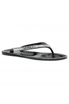 Shoe Land SUMMER-Women's Thong Jelly Flip Flops With Rhinestone (2020 BLK/SLV)