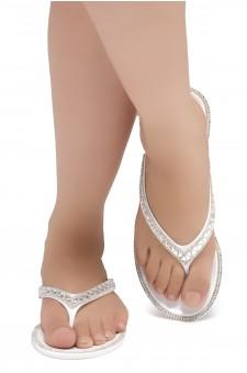 Shoe Land SUMMER-Women's Thong Jelly Flip Flops With Rhinestone (2020 WHT/SLV)