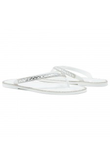 Shoe Land SUMMER-Women's Thong Jelly Flip Flops With Rhinestone (2020 WHT/SLV)