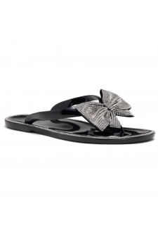 Shoe Land SUMMER-Women Rhinestone Bowtie Flip Flops Jelly Thong Sandals (Black/Silver)