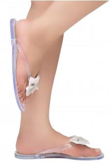 Shoe Land SUMMER-Women Rhinestone Bowtie Flip Flops Jelly Thong Sandals (Clear)