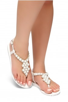 HerStyle Summer Grow- T-Strap Thong Sandals with Patterned Beads Jeweled Vamp (White)