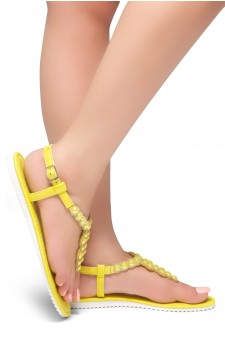 HerStyle Summer Grow- T-Strap Thong Sandals with Patterned Beads Jeweled Vamp (Yellow)