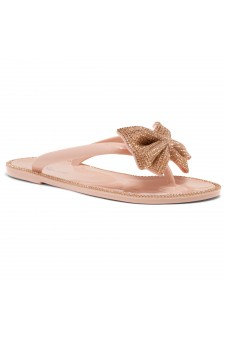 Shoe Land SUMMER-Women Rhinestone Bowtie Flip Flops Jelly Thong Sandals (Nude/Rosegold)