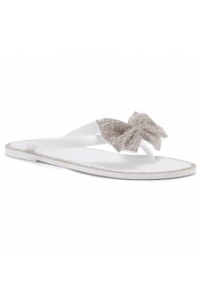 Shoe Land SUMMER-Women Rhinestone Bowtie Flip Flops Jelly Thong Sandals (White/Silver)