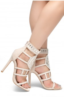 HerStyle SUNDA stiletto heel, jeweled embellishments (Nude)