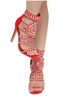 HerStyle SUNDA stiletto heel, jeweled embellishments (Red)