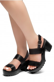 HerStyle Sundance-Open Toe Double-Banded Vamp with Platform Block Heel (Black)