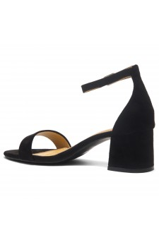 HerStyle SUNDAY-open toe, block heel,ankle strap with an adjustable buckle (Black)