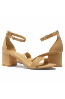 HerStyle SUNDAY-open toe, block heel,ankle strap with an adjustable buckle (Camel)