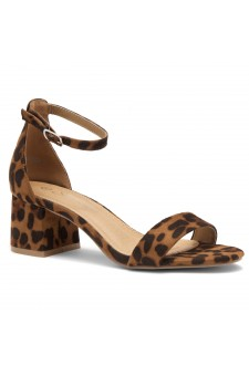 HerStyle SUNDAY-open toe, block heel,ankle strap with an adjustable buckle (Leopard)