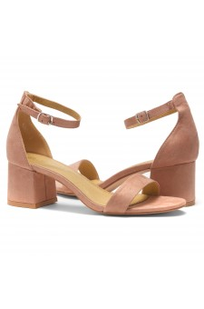HerStyle SUNDAY-open toe, block heel,ankle strap with an adjustable buckle (Mauve)