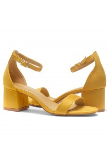 HerStyle SUNDAY-open toe, block heel,ankle strap with an adjustable buckle (Mustard)