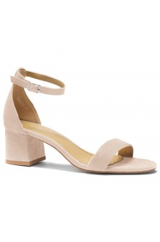 HerStyle SUNDAY-open toe, block heel,ankle strap with an adjustable buckle (Nude)
