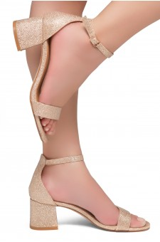 HerStyle SUNDAY-open toe, block heel,ankle strap with an adjustable buckle (RoseGold Shimmer)