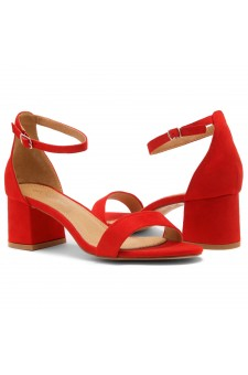 HerStyle SUNDAY-open toe, block heel,ankle strap with an adjustable buckle (Red)