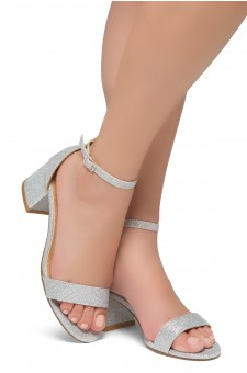 HerStyle SUNDAY-open toe, block heel,ankle strap with an adjustable buckle (Silver Shimmer)