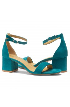 HerStyle SUNDAY-open toe, block heel,ankle strap with an adjustable buckle (Teal)