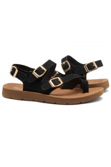 HerStyle Women's Manmade SURE THING- Flat Sandal with buckle accents(Black)