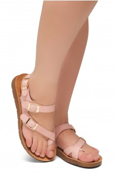 Shoe Land Women's Manmade NOLITA(SL)- Flat Sandal with buckle accents(1831/Blush)