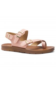 HerStyle Women's Manmade SURE THING- Flat Sandal with buckle accents(Mauve)