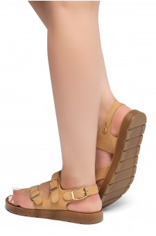 HerStyle Women's Manmade SURE THING- Flat Sandal with buckle accents(Tan)