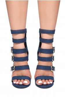 HerStyle Surie-Stiletto heel, buckle detail (Navy)