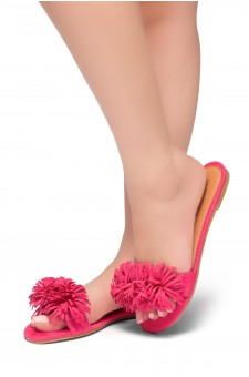 HerStyle Sway-Flat Sandals with Unique Decorative Tonal Florescent Vamp (Fuchsia)