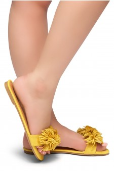 HerStyle Sway-Flat Sandals with Unique Decorative Tonal Florescent Vamp (Mustard)
