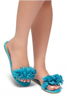 HerStyle Sway-Flat Sandals with Unique Decorative Tonal Florescent Vamp (Teal)