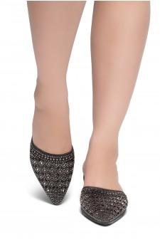 HerStyle SWEET TALK- Pointed Toe Stuck Heel jeweled embellishment vamp slipper (Black)